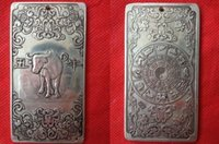 antiques art collectibles - collectibles Chinese Old Zodiac Cow tibet Silver Bullion thanka amulet NE06