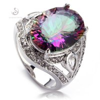 Wholesale Recommend Classic Fashion Rainbow Fire Mystic Topaz Vintage Silver Plated RING R701 size