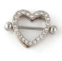 Wholesale New Surgical Steel LOVE Heart Piercing Nipple Shield Ring G Nipple Bar Clip On Non Piercing Nipple Shield Ring Jewelry