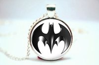 batman photos - 10PCS Batman Logo Comic Pendant Necklace Glass Photo cabochon necklace vision