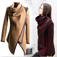 Wholesale 2015 Warm Winter Fashion Women Batwing Cape Wool Poncho Jacket Lady Cloak Coat Plus Size S XXXL Blue Outwear