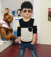 Wholesale Korean Fashion Boys T Shirt Pure Cotton Pocket Best Quality Children Long Sleeve Tshirt Kids T Shirts Baby Topwear QZ381 Retail Free