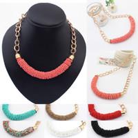 Wholesale New Arrivals Women s Lady s Fashion Jewelry Boho Beads Chain Choker Chunky Statement Bib Necklace IX94