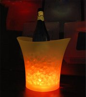 Ice Buckets & Tongs beer champagne - Waterproof L plastic led ice bucket color changing L bars nightclubs LED light up ice bucket Champagne wine beer bucket bars
