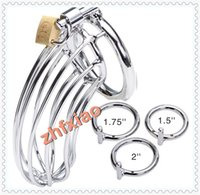 Male Chastity Cage Chastity device Stainless Steel Male Chastity Kit Cock Cage with Chain Silver Metal Man Bird Cage Bondage Chastity Device Plating Spider 3 Penis Rings Sizes