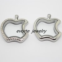 Wholesale High Quality Apple Shape L Stainless Steel Glass Pendant Floating Charms Living Memory Locket