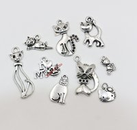 cat charms - 90Pcs Mixed Tibetan Silver Cat Charms Pendants For Jewelry Making Craft DIY Floating Charms
