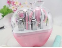 Wholesale sets Pink Apple in Nail arts Practical cosmetology Manicure and makeup tool set for Wedding Favors