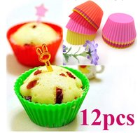 Wholesale 12X Silicone Round Cake Muffin Chocolate Cupcake Liner Baking Cup Mold Mould