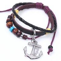 achat en gros de bracelet en cuir noir infini d'ancrage-Pirates des Caraïbes Anchor Personnalité Snap Bijoux en cuir Bracelets pour Femmes Multilayer Infinity Black Charm Bracelet pour hommes