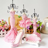Wholesale Mannequin Jewelry Display Stand Set Sofa High heeled Shoes Ring Holder Skirt Dress Doll Necklace Earring Organizer Wedding Christmas Gift
