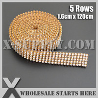 Wholesale Clear Crystal Rhinestone Banding Trimming for Cake and Cup Stand Wedding Decoration Bridal Dress Gold Base