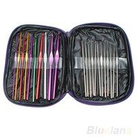 Wholesale 22pcs Mixed Color Aluminum Crochet Hooks Knitting Needles Case Yarn Kit Set with Case ZI