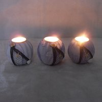 Wholesale circular wooden candlesticks Mediterranean marine style home decoration Wedding Decoration
