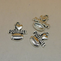 Wholesale 2016 New Arrival Vintage Football Charms Antique Silver Tone Pendant DIY Jewlery Findings x19mm