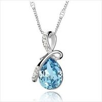 Cheap Wholesale New Fashion accessories crystal costume Jewelry High Quality rhinestone Color Crystal Angel's tears Necklace RJ1688