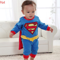 Wholesale Baby Boy Romper Superman Long Sleeve with Smock Halloween Christmas Costume Gift Boys Rompers Spring Autumn Clothing Pajama Blue SV000172