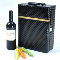Wholesale Diamond Pattern Red Wine Box PU Leather Black Double Vessel Dual Hippocampus Opener Set Bar Business Christmas Gifts with Wine Tools