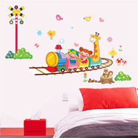 Wholesale 50cm cm Happy cartoon wall stickers For Bedroom TV Background wall stickers decorative Wall paper removable on sale new