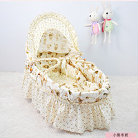 Wholesale 14 Color for Option Portable Baby Bassinet Cotton Cloth Handmade Corn Bran Woven Cradle Baby Basket High Quality