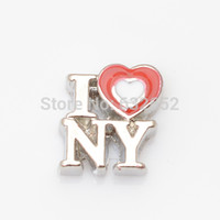 Wholesale I love NY floating locket charms Fit floating charms lockets FC0322