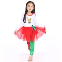 Wholesale Children Christmas Sets Kids Clothes Baby Girls Red Chiffon Dress And Pant Outfit Children Clothes Christmas Boutique Outfits