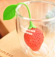 Wholesale cute Silicone Strawberry Design Tea Strainer Herbal Spice Infuser Filter Tools WG31