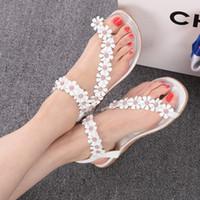Women pvc sandals - real photo show retail Flip flop sandals flip women s shoes flat flats bohemia flower beaded soft outsole sweet size