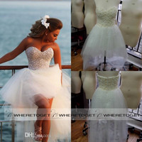 Wholesale 2015 Unique High Low Wedding Dresses Sweetheart Tulle Summer Wedding Dresses Pearl Custom Made Beach Wedding Dresses