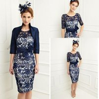 mother of the groom dresses - 2015 Elegant Sheath New Navy Blue Satin Lace Mother Of The Bride Dresses with Long Sleeve Jacket Knee Length Mother of the groom dresses
