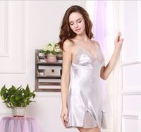 allure women - Women Real Silk Sleepwear Dress Lace Sexy Sundresses Summer Spring Wear Allure Colors Top Quality