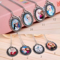 baby cross jewelry - 18 Styles mixed Color New Fash Frozen Necklace Princess Pendants Necklaces Baby Kids Jewelry Accessories Elsa Anna Clothes Accessories