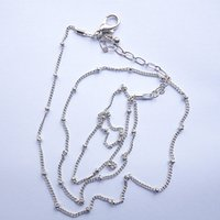Lockets Bohemian Women's 20-22inch silver ball station necklace chains , 10pcs lot ,free shipping