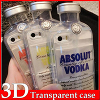 Plastic beer bottle covers - 3D Transparent ABSOLUT VODKA Case Wine Beer Bottle Design Soft TPU Phone Cover For iPhone SE S S Plus inch Free Ship MOQ