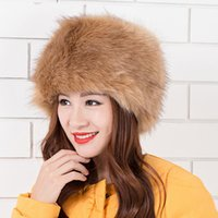 Wholesale Faux Fur Bomber Hats Winter Solid Color Women Hat Russian Thick Cap Candy Color Ear Warm Beanies Colors Outdoor Big Size Hats