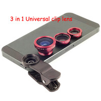 Wholesale 3 in Universal Clip Lens Wide Lens Macro Lens Fish Eye Lens For iPhone Samsung mobile phones Tablet PC