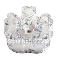 Wholesale Glass teapot textured glass heart shaped crystal pedestal base heating base teapot warm tea warm tea