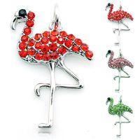rhinestone keychain - 2015 Spring Latest Fashion Charms Alloy Lobster Clasp Rhinestone Flamingo DIY Car Keychain Jewelry Accessories