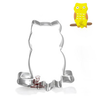 Wholesale 1127 stainless steel owl shape biscuit cutter metal cookie stamp cooking tools A331