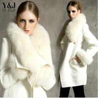 Wholesale 2015 Elegant winter coat women Fur Coat overcoat Female Winter Warm Medium Long Outwear trench coats
