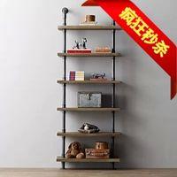 Wholesale American country LOFT retro living room floor type shelf iron wood bookshelf industrial pipe rack