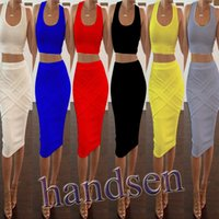 sports ribbon - 2015 hot two piece sleeveless casual dresses sexy clubbing dresses Top Europe summer cotton bandage dress slim Fit Skirts Sport Set