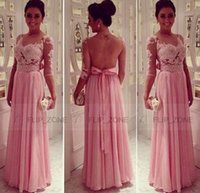 Wholesale Sheer Scoop Neck Party Dresses with Illusion Half Sleeve Backless Lace Pink Chiffon Beads Plus Size Evening Prom Celebrity Formal Gowns
