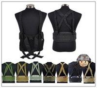 Wholesale Airsoft Tactical Molle Sports Combat Waist Padded Belt With H shaped Suspender Shoulder Strap Adjustable Nylon Cummerbunds BK order lt no