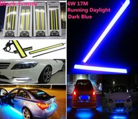 Wholesale LED daytime running light Waterproof cob cm leds Black Frame W V Car Running daylight cob Strip auto day time lights