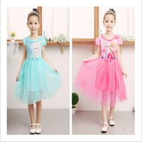 Cheap 2015 2 color girl frozen fever dresses party Net yarn elsa dress princess costume cosplay dress dance dress tutu printed dress TOPB3604 10