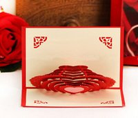 wholesale gift cards - Fashion Hot mm DIY paper art three dimensional greeting cards soulmate postcards Gift Greeting D Blessing Cards Heart design