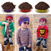 baby gifts wigs - Fashion Unisex Kids Baby Hat Explosive Head Afro Wig Hair Style Curly Hair Hat Knitted Hats Children s Wig Cap as Christmas Gift