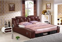 Wholesale GENUINE LEATHER BED NOBLE STYLE BROWN SIMPLE FASION DOUBLE PERSON GOOD QUALITY CM A33D