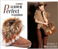 artificial fur fabric - New Fashion Winter Brown Warm Ladys Snow Boots High Quality Long Snow Boots Artificial Fox Rabbit Fur Leather Tassel Women s Shoes